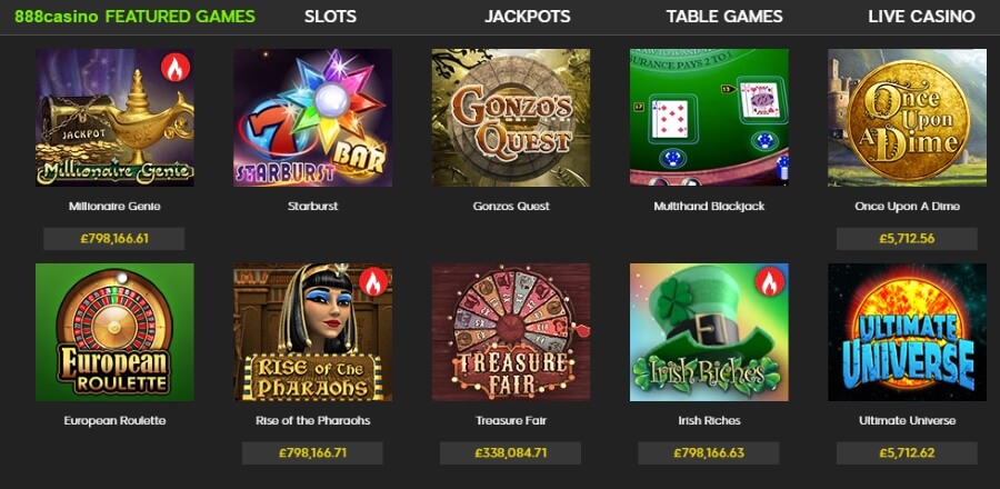 888 casino games selection